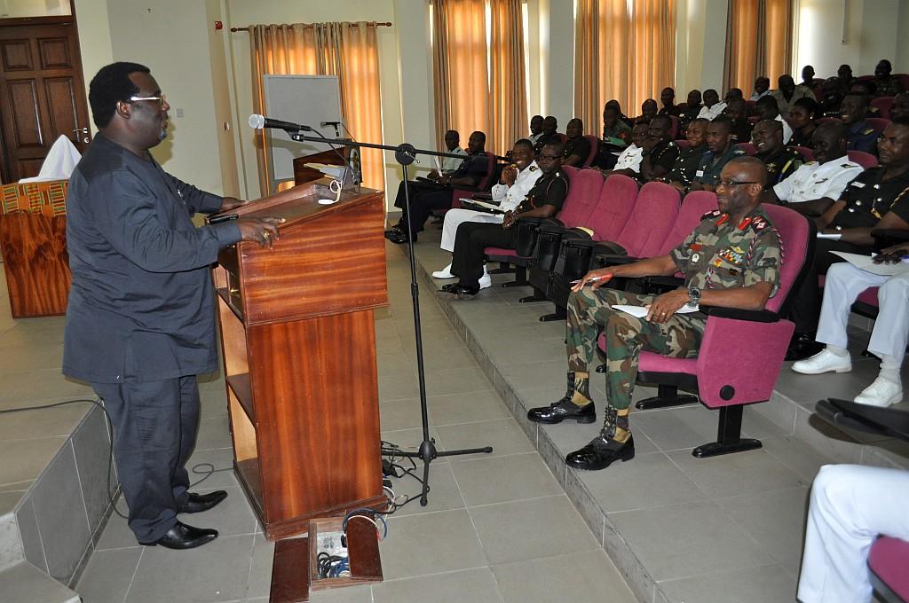 Dr. Emmanuel Kojo Hopeson training Senior Officers of Ghana Armed Forces
